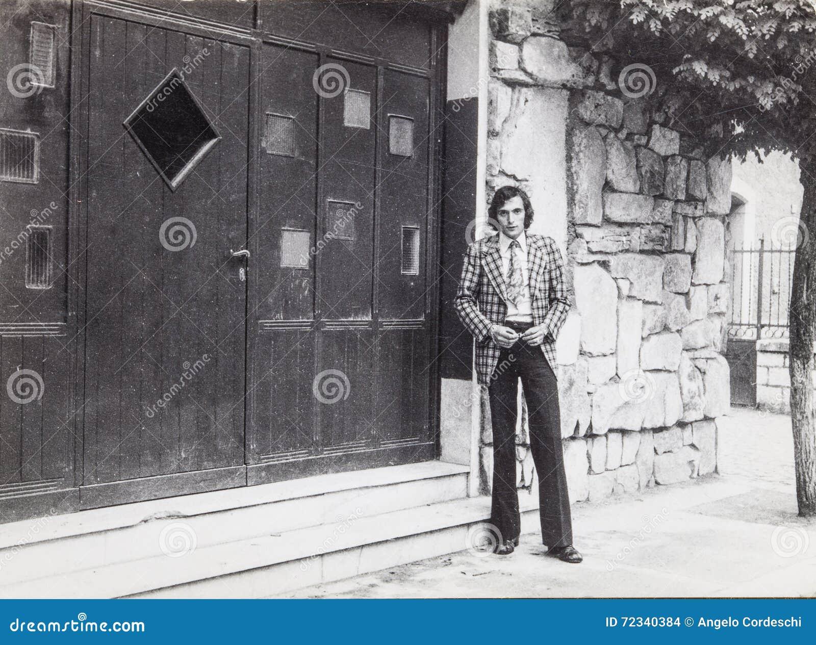 Original vintage photo 60 s of a man outdoors