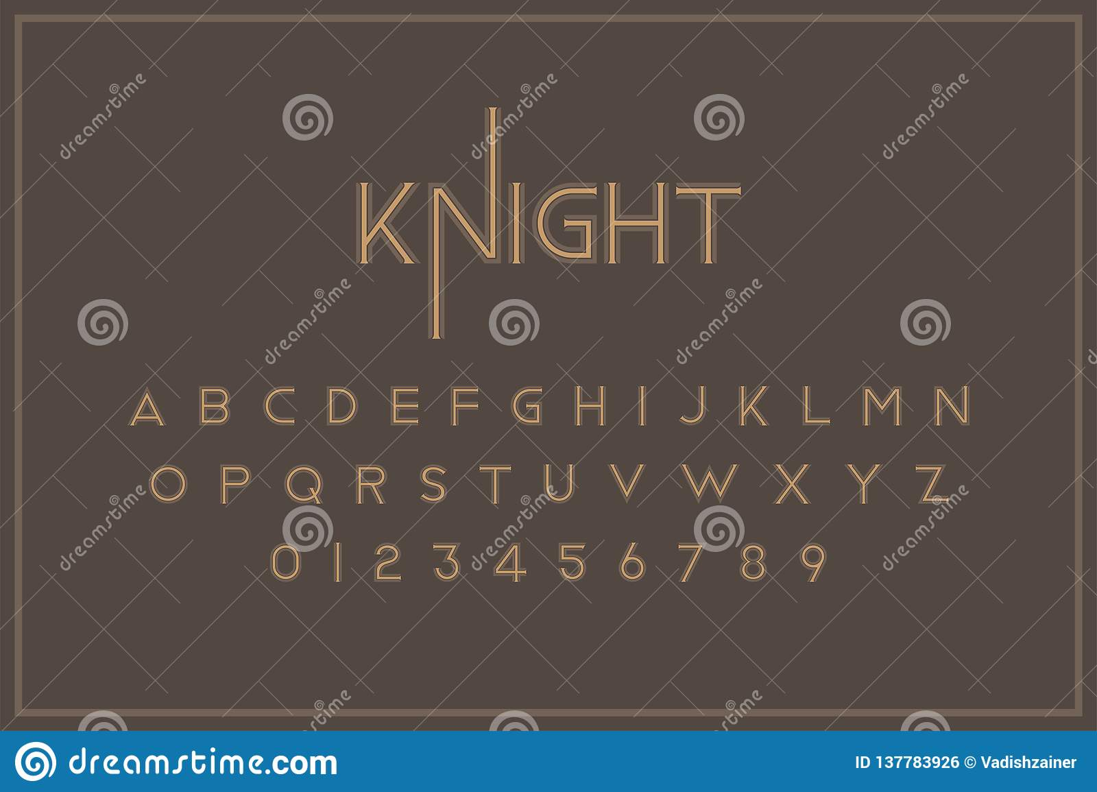 Original vintage royal font. A set of letters and numbers in retro style. Symbols for creative design template. Flat