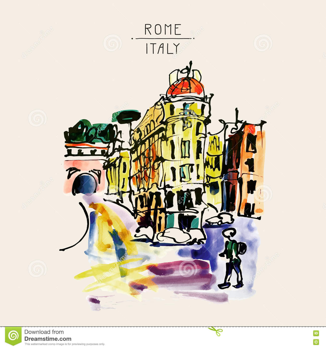 Original watercolor sketch hand drawing of Rome Italy famous cit