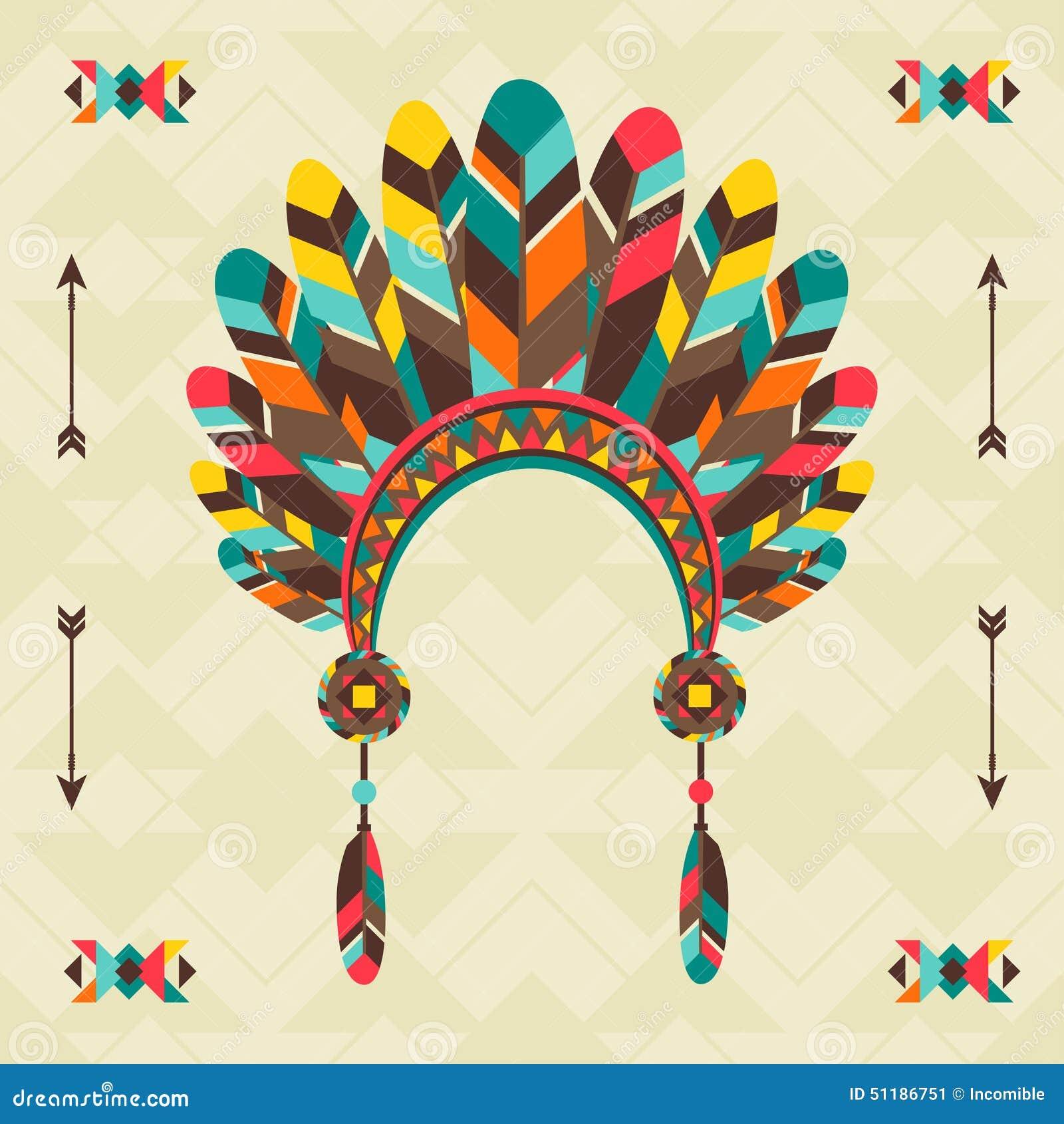 Origine ethnique avec le bandeau dans la conception de Navajo