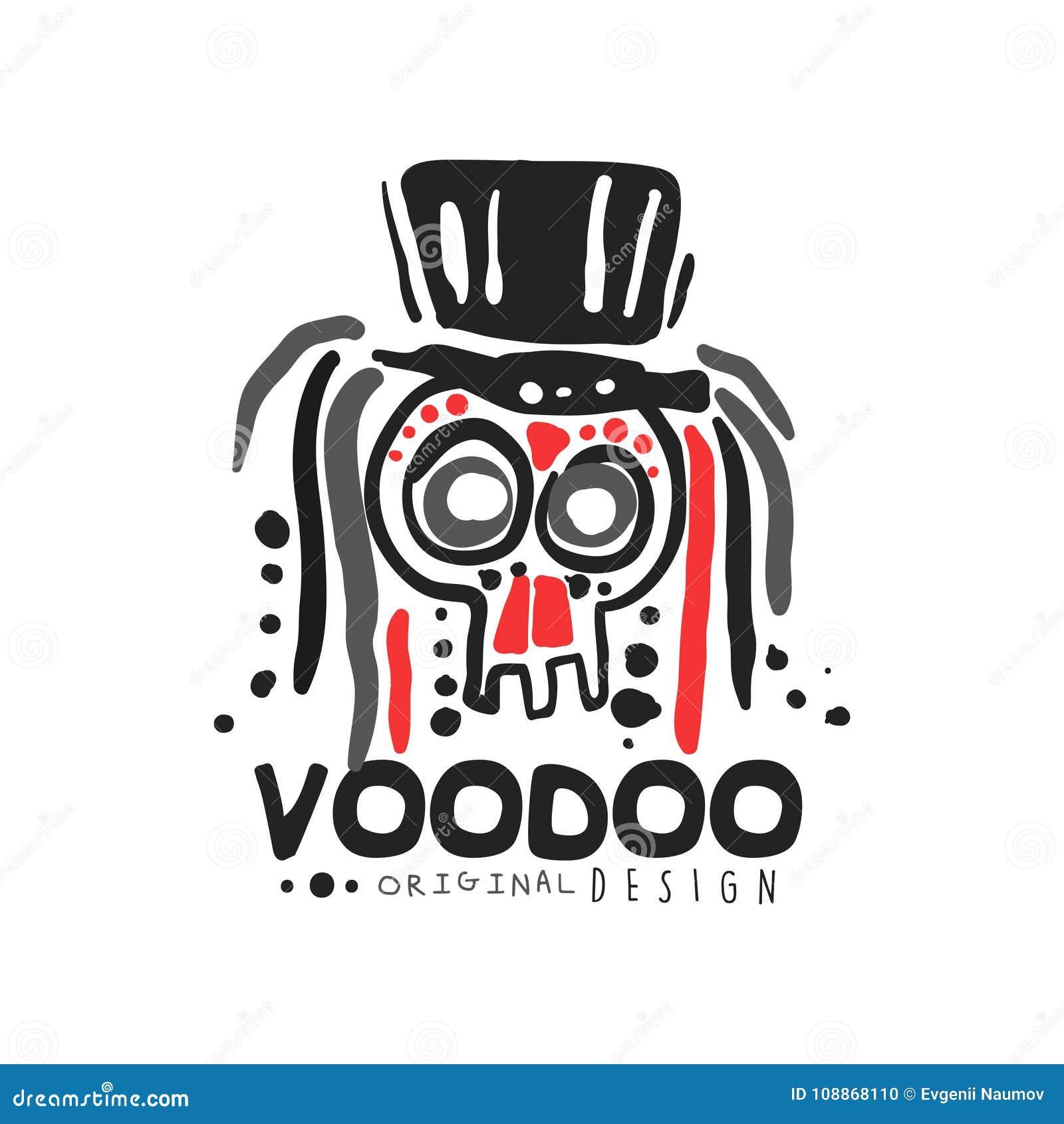 Origineel het malplaatjeontwerp van het Voodoo magisch embleem met abstracte schedel met haar die hoed dragen Godsdienst en cultu
