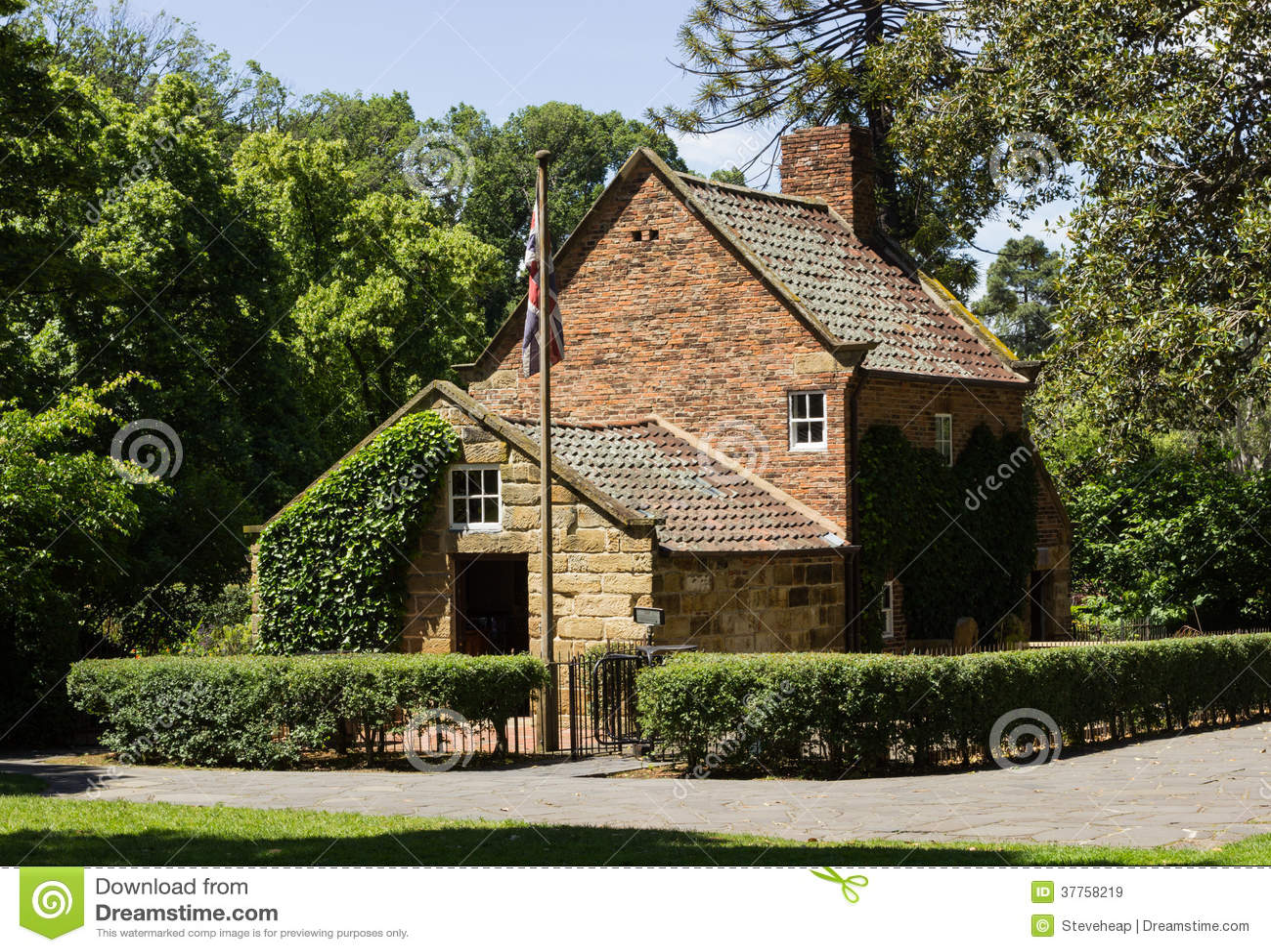 Origineel huis van kapitein cook in melbourne stock afbeelding