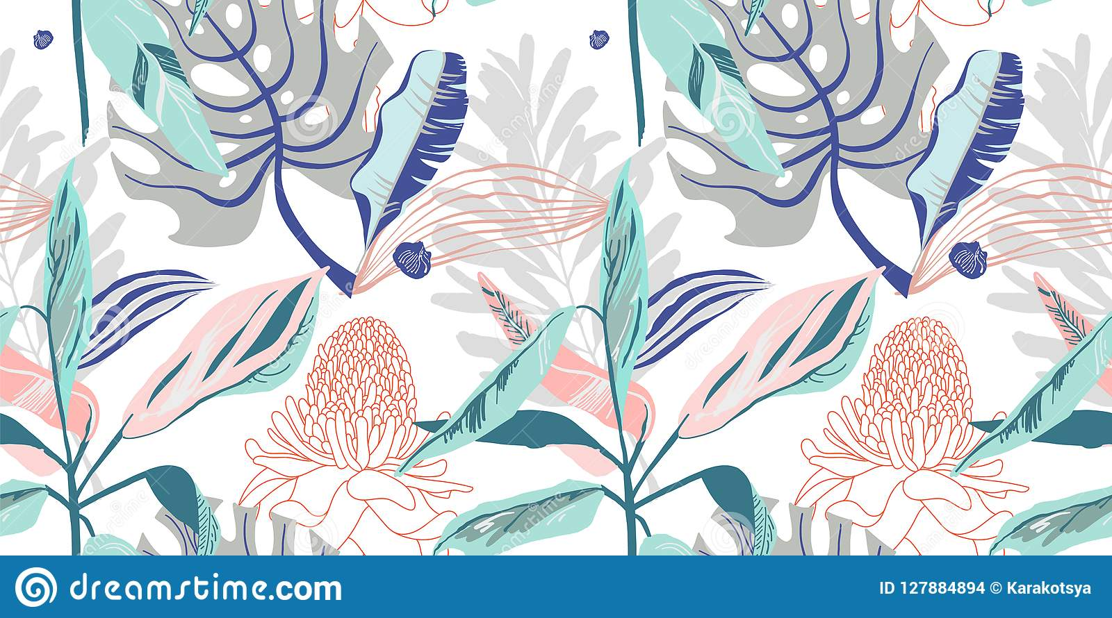 Origineel in naadloos artistiek bloempatroon, mooie trop