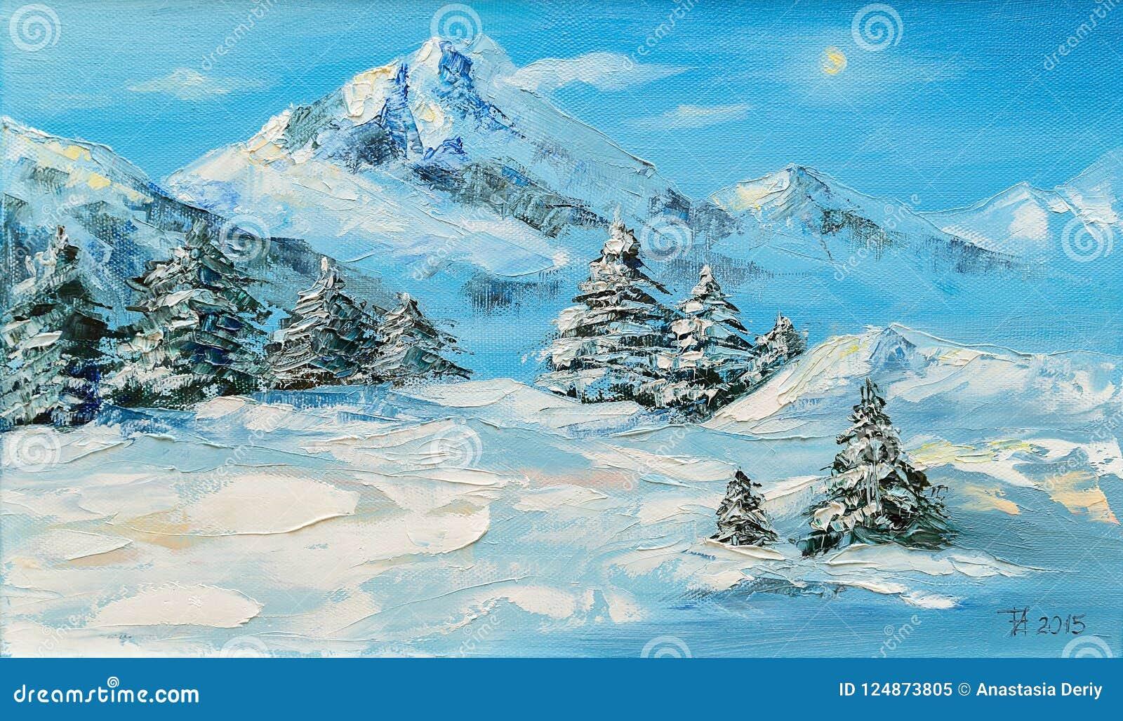 Origineel olieverfschilderij, het landschap van de de winterberg met sparren