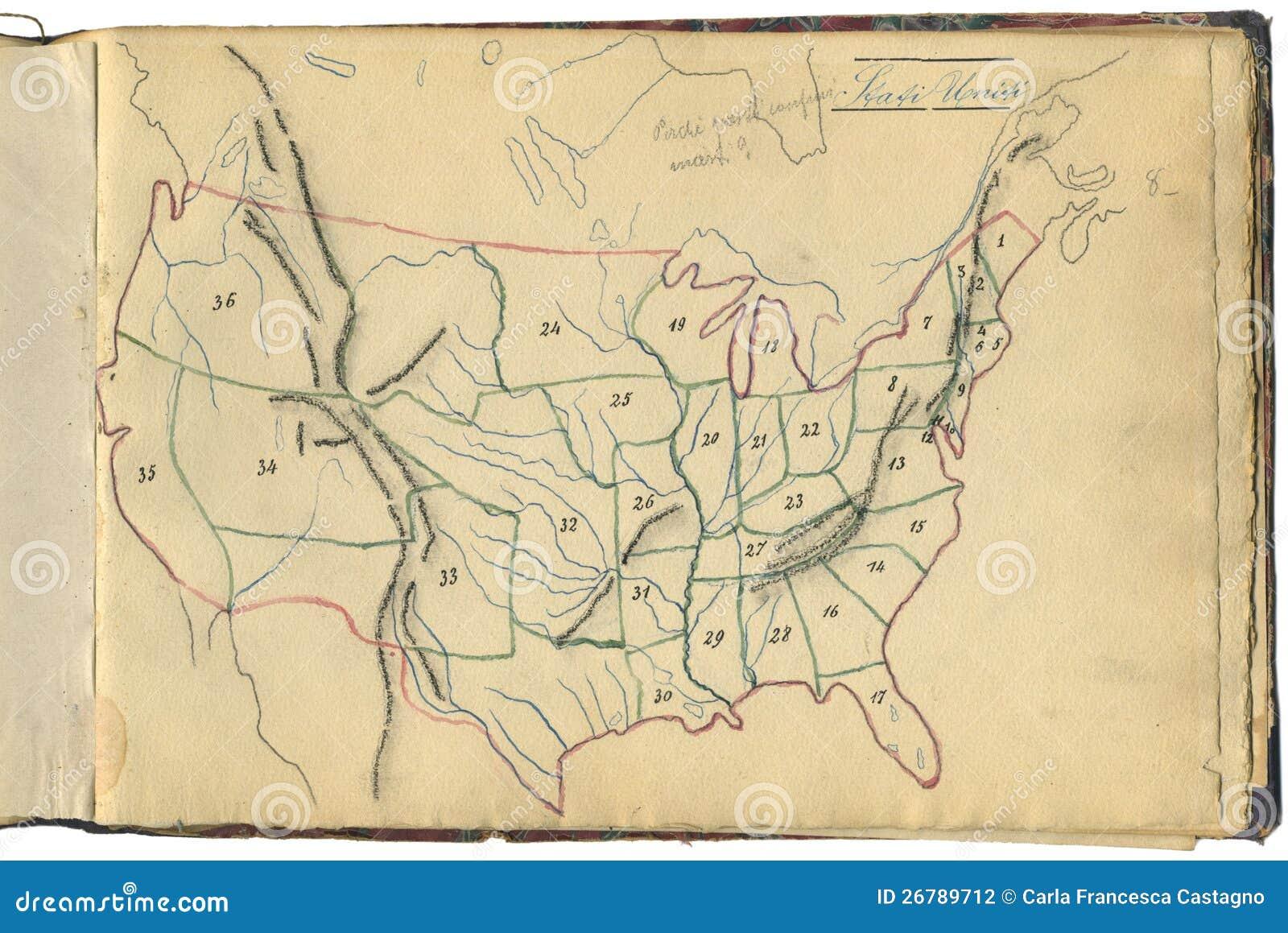 Originele uitstekende kaart van de V.S.
