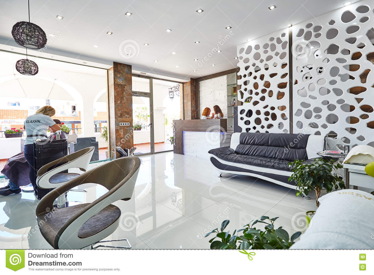 Orihuela, Spain- June 15, 2016: Beauty Salon With Modern Design In ...