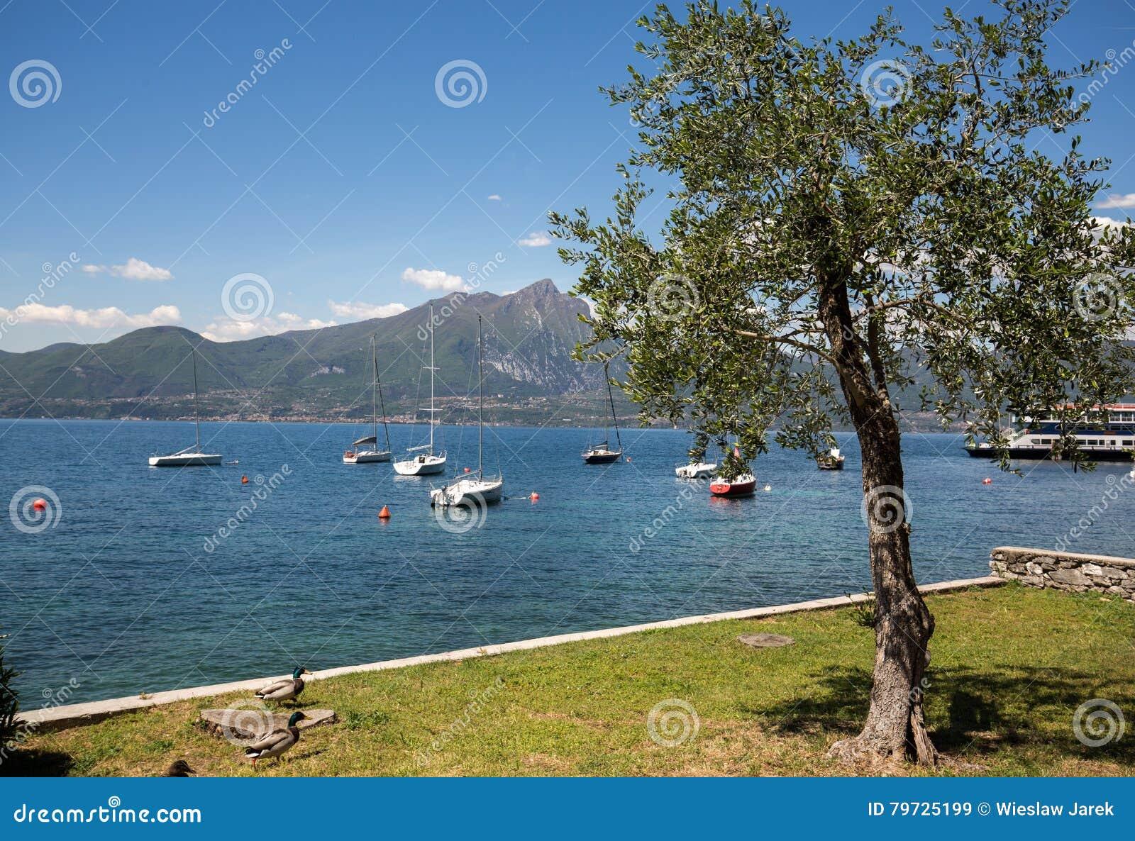 Orilla del lago Garda en el pueblo de Torri del Benaco en Italia