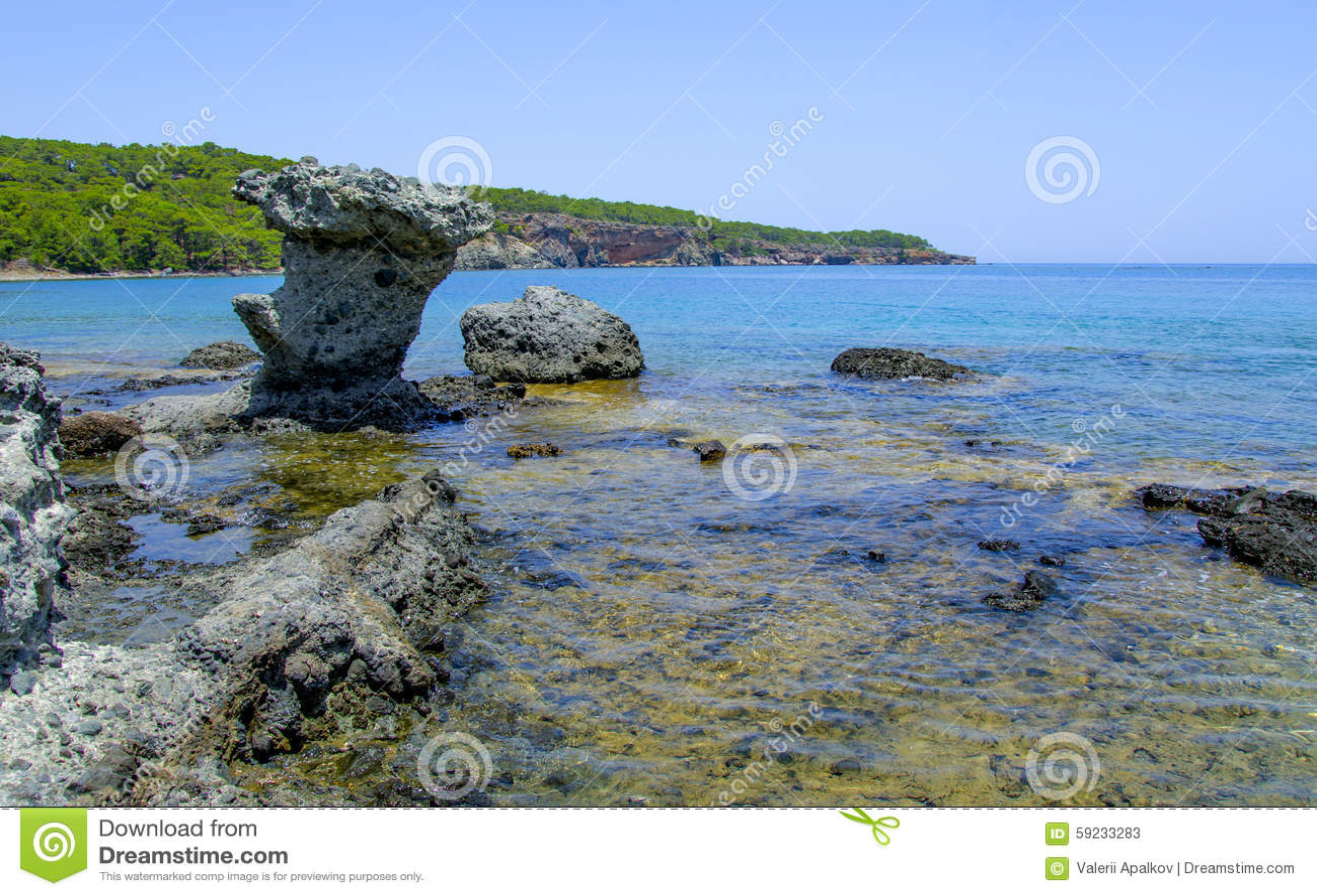 Download Orilla Rocosa De Phaselis Turquía Imagen de archivo - Imagen de playa, agua: 59233283