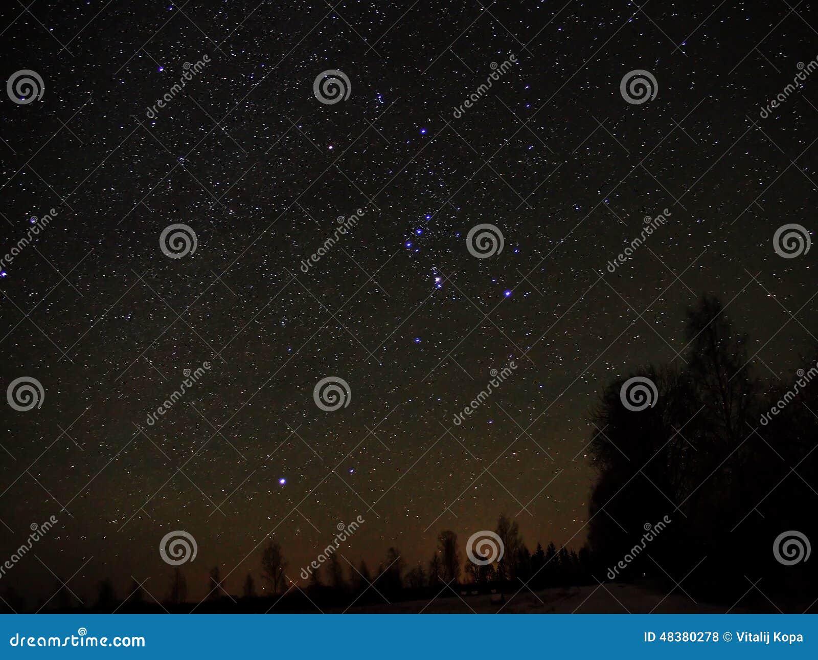 Night sky stars Orion constellation Sirius star