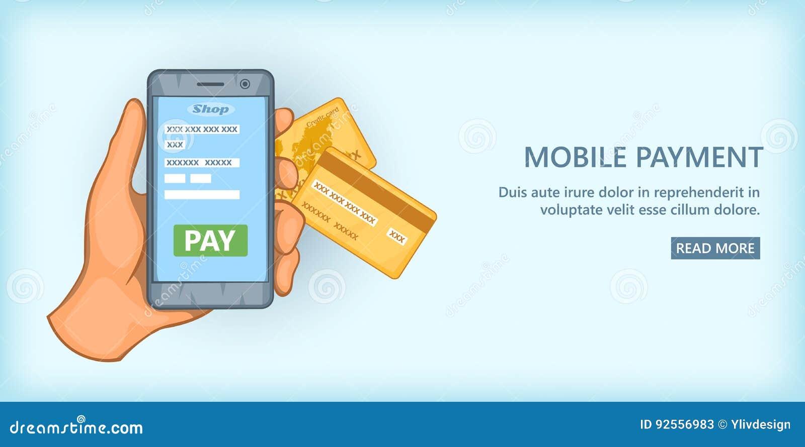 Orizzontale mobile dell insegna di pagamento, stile del fumetto