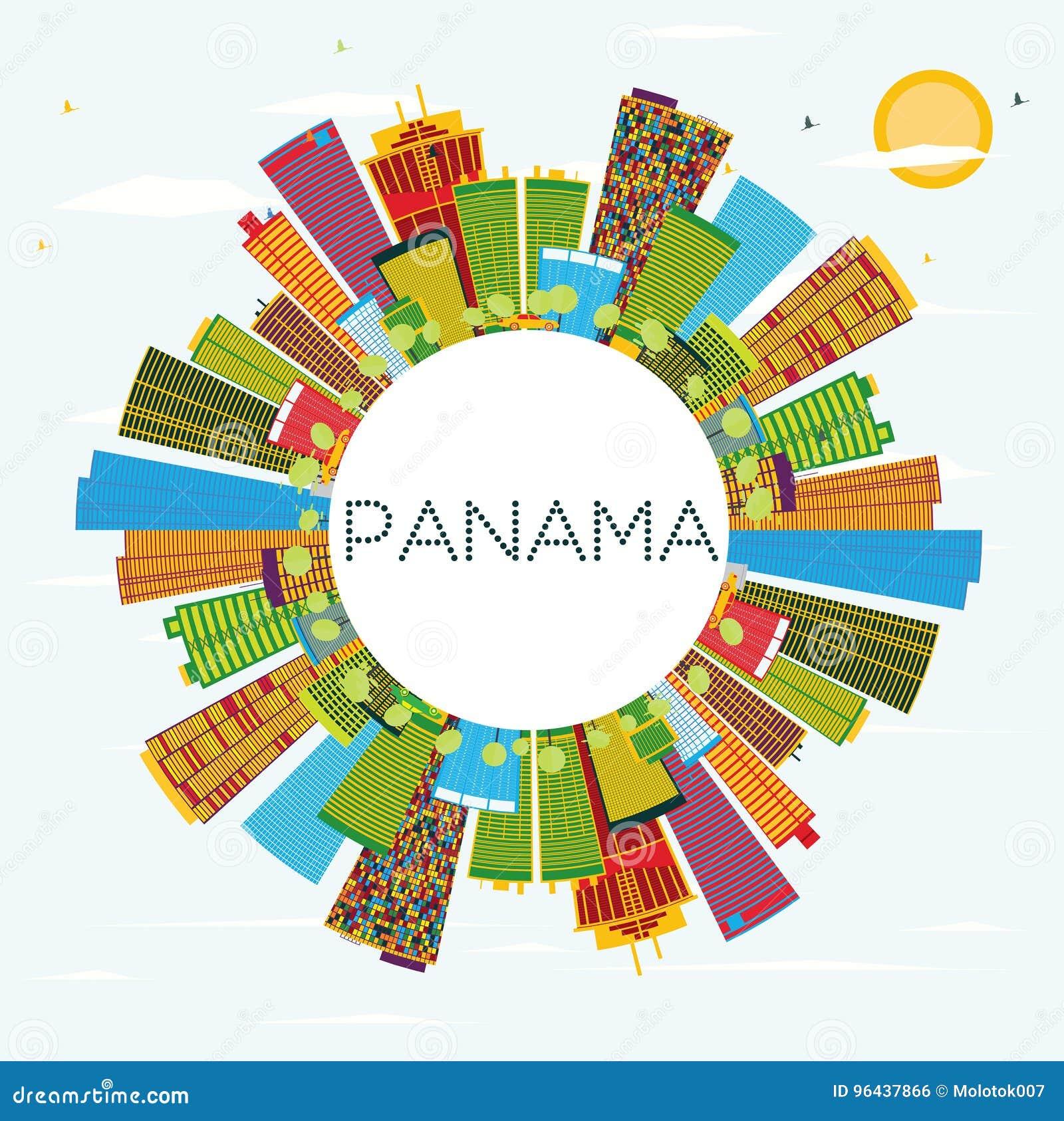 Orizzonte del Panama con le costruzioni di colore, il cielo blu e lo spazio della copia