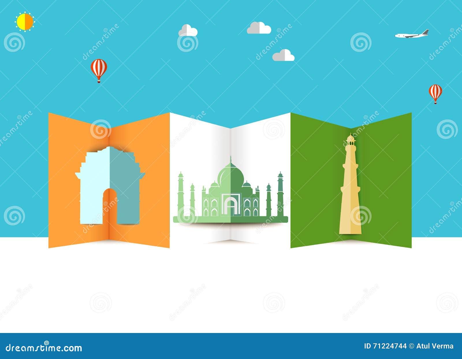 Orizzonte dell India, viaggio del kutub del portone del Taj Mahal India e fondo minar di turismo