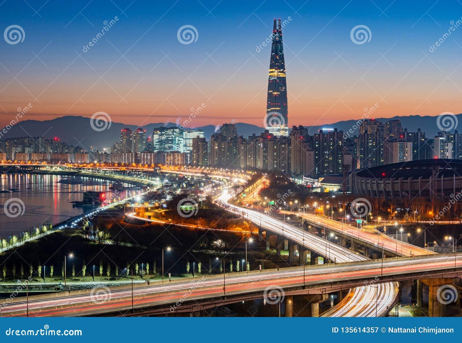 Orizzonte della città di Seoul, Corea del Sud