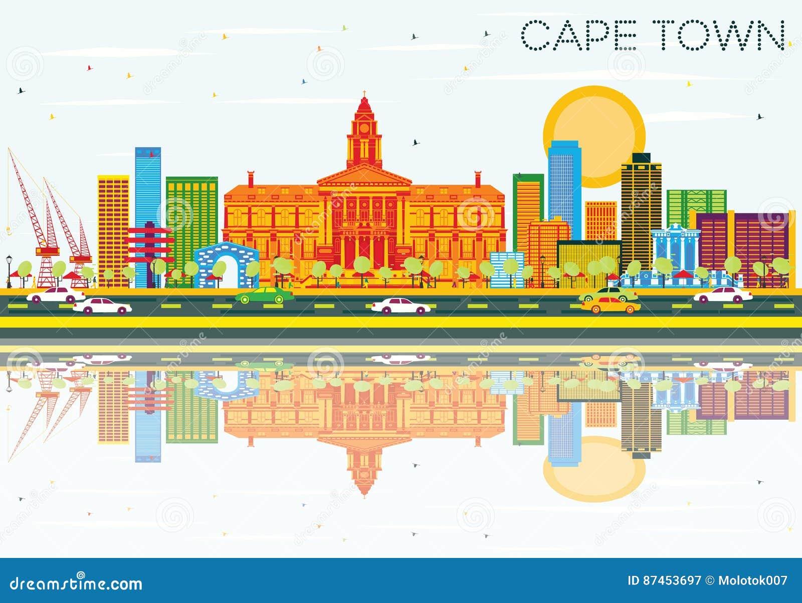 Orizzonte di Cape Town con le costruzioni, il cielo blu e le riflessioni di colore