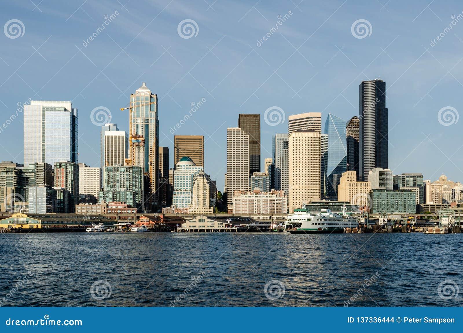 Orizzonte di lungomare di Seattle