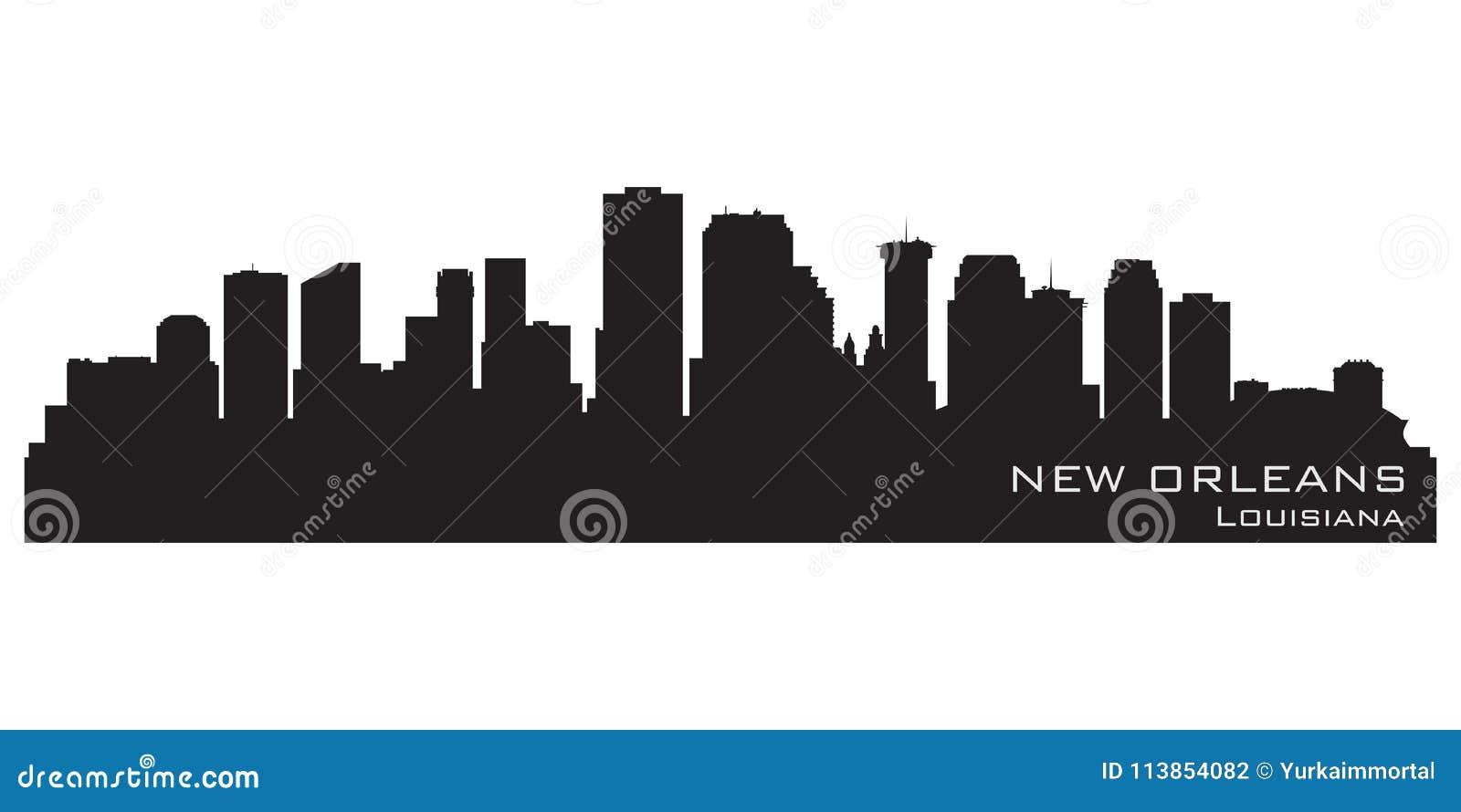 Orizzonte di New Orleans, Luisiana Siluetta dettagliata di vettore