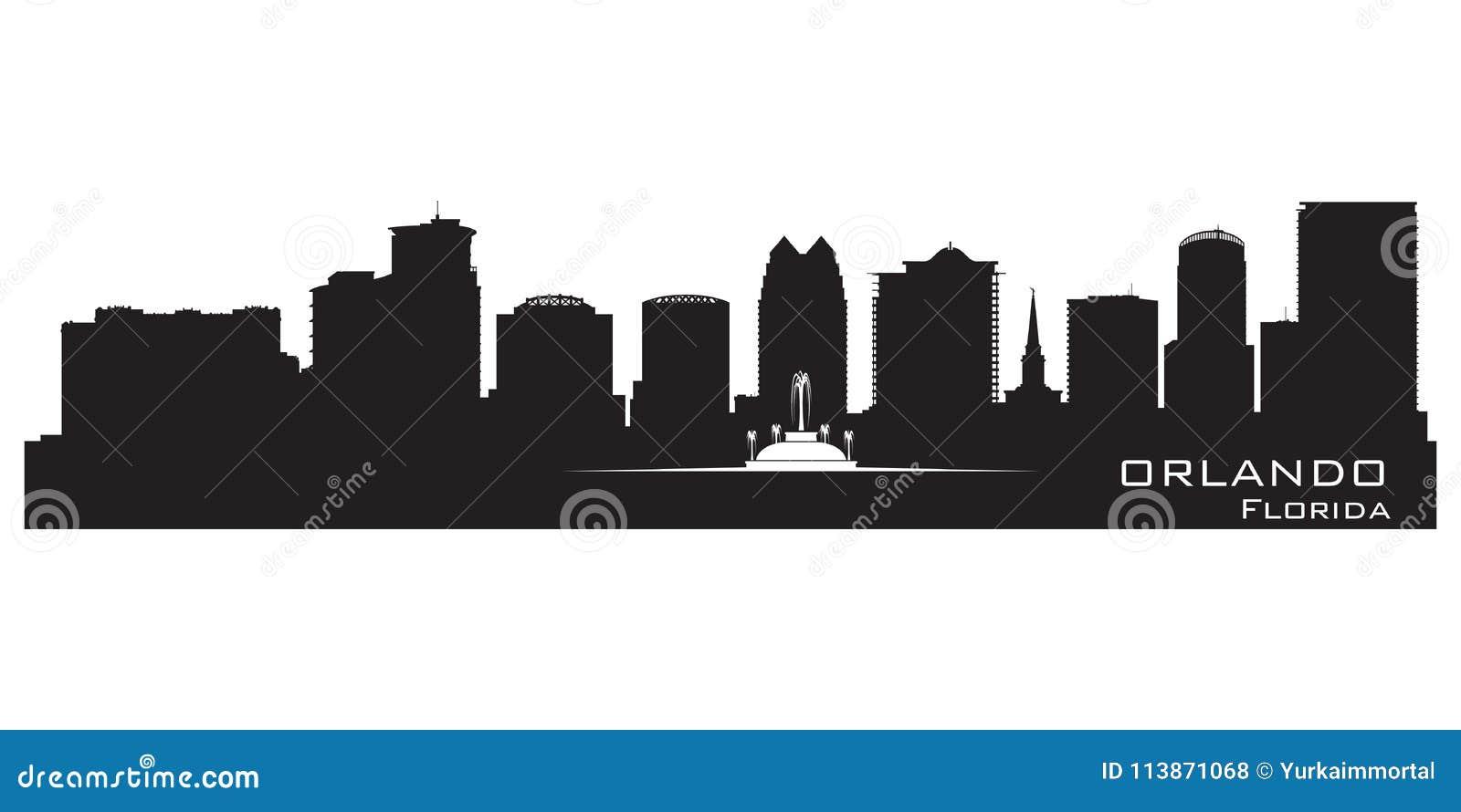 Orizzonte di Orlando, Florida Siluetta dettagliata della città