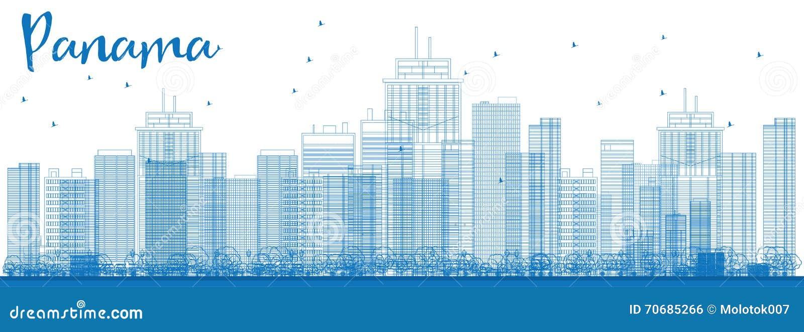Orizzonte di Panamá del profilo con i grattacieli blu