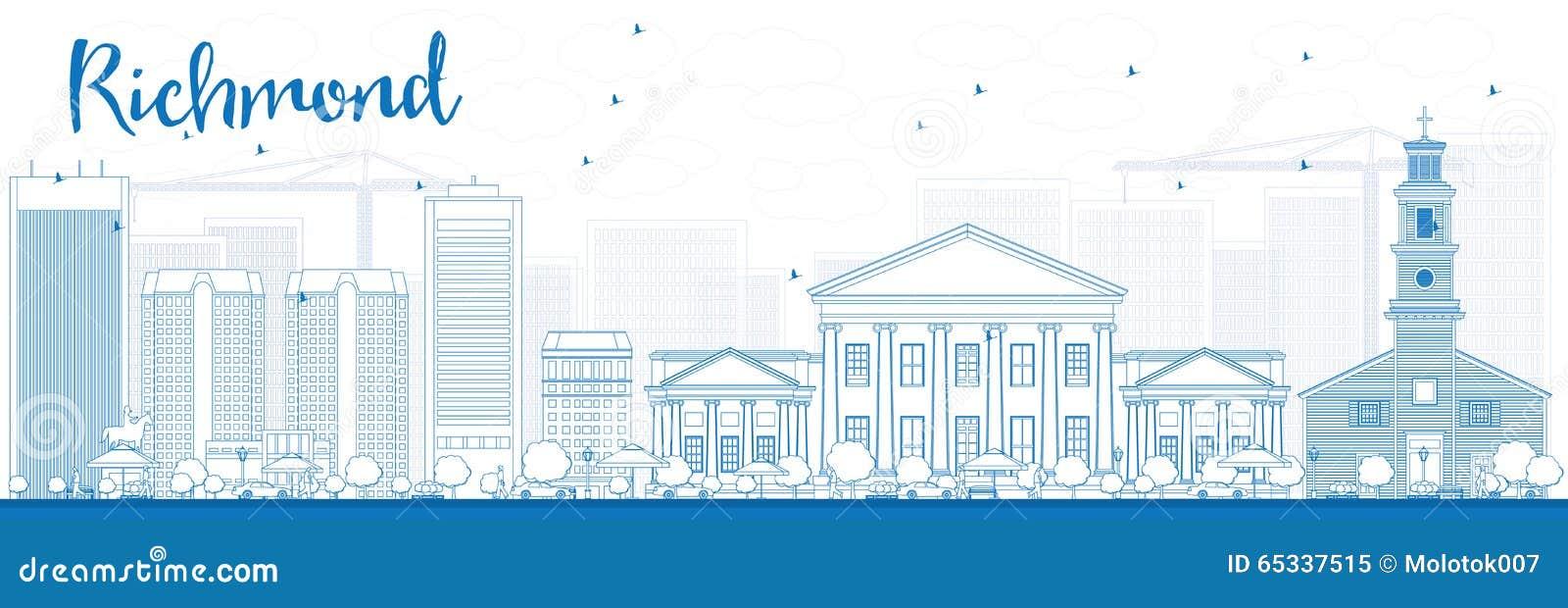 Orizzonte di Richmond del profilo (la Virginia) con le costruzioni blu