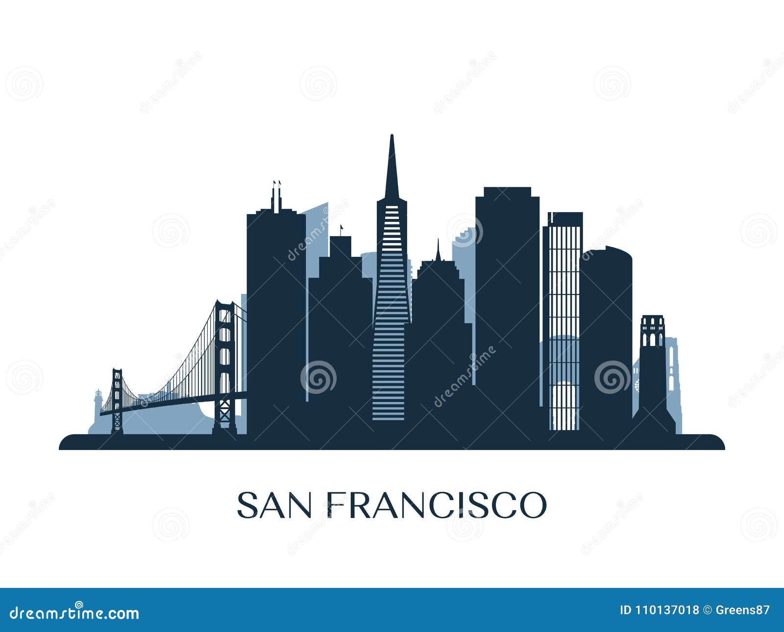 Orizzonte di San Francisco, siluetta monocromatica