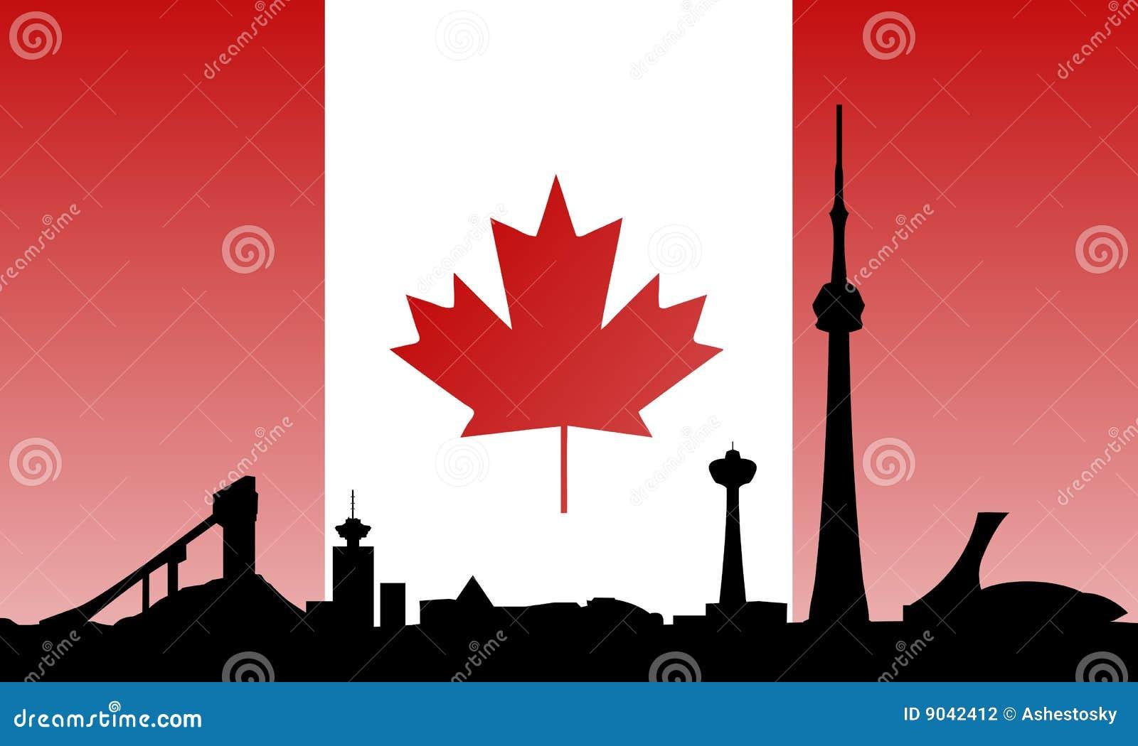 Orizzonte e bandierina dei limiti del Canada