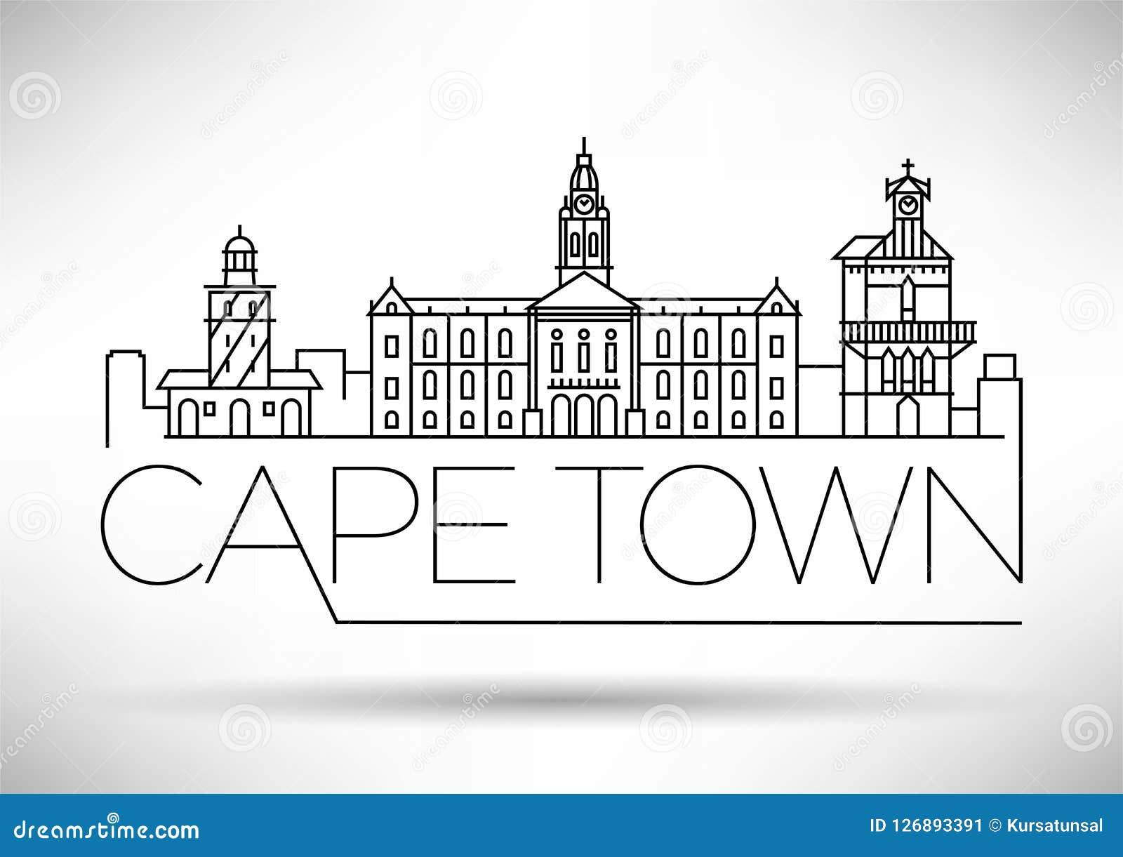 Orizzonte lineare della città minima di Cape Town con progettazione tipografica