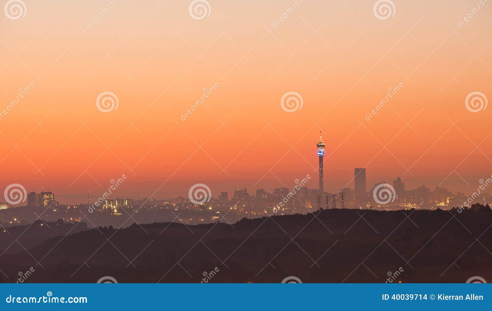 Orizzonte Sudafrica di alba di Johannesburg