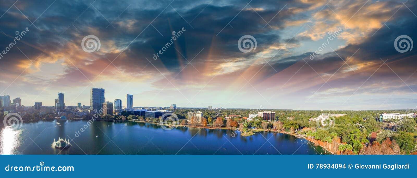 Orlando aerial view, skyline and Lake Eola at dusk