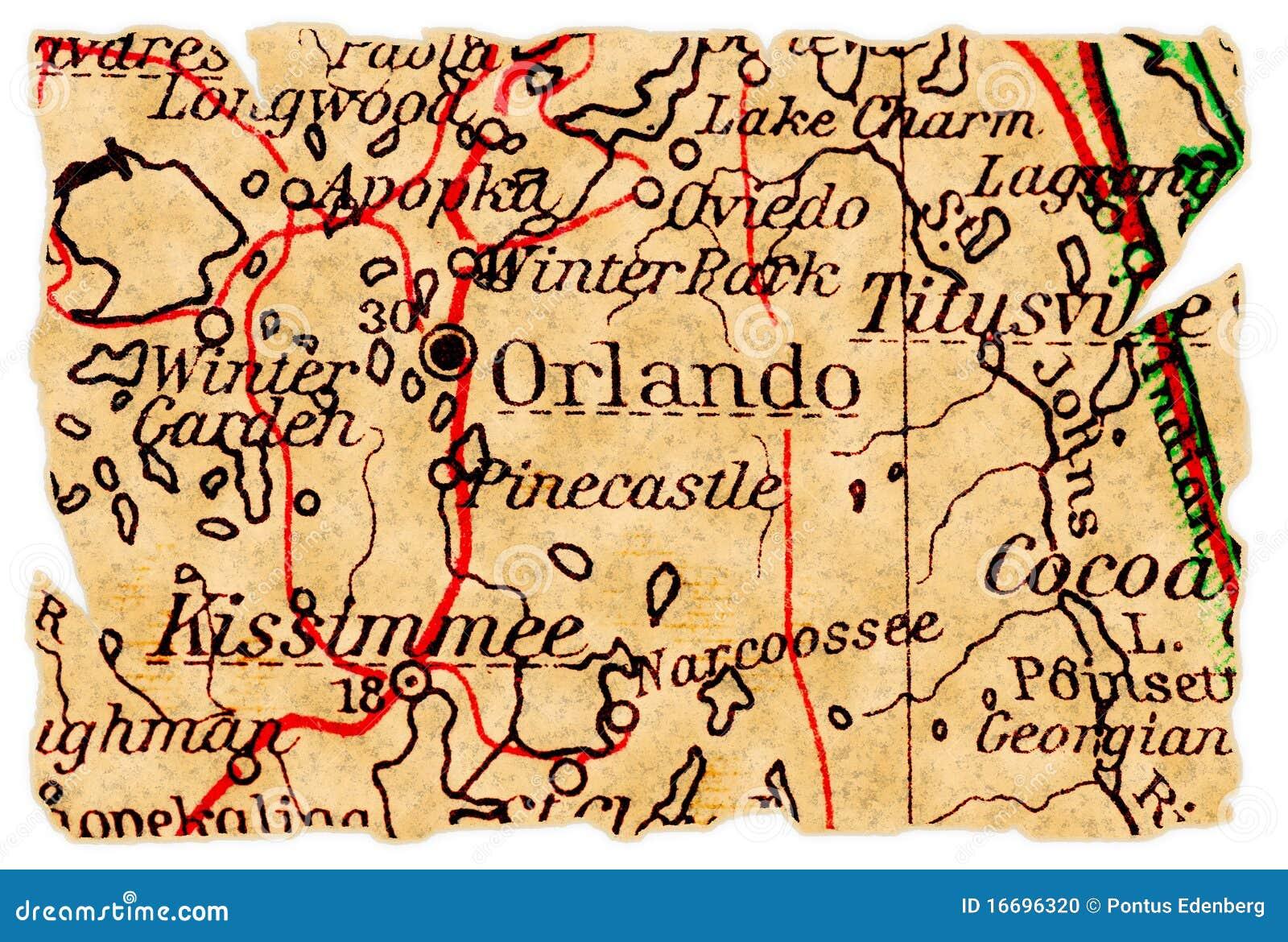Orlando Alte Karte Stockfoto Bild Von Getrennt Papier 16696320