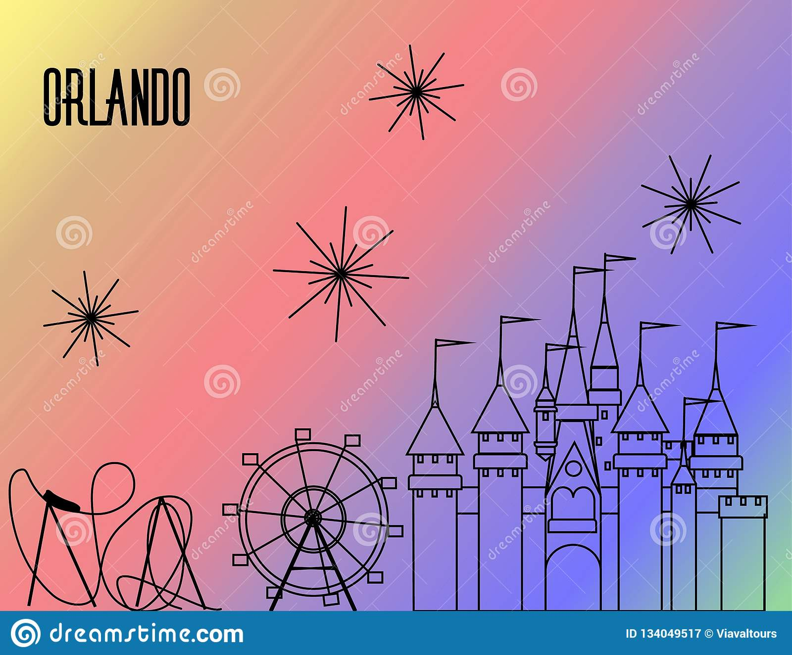 Orlando Atractions black line on rainbow colorful background. Roller Coaster, Big Wheel, Castle and fireworks.