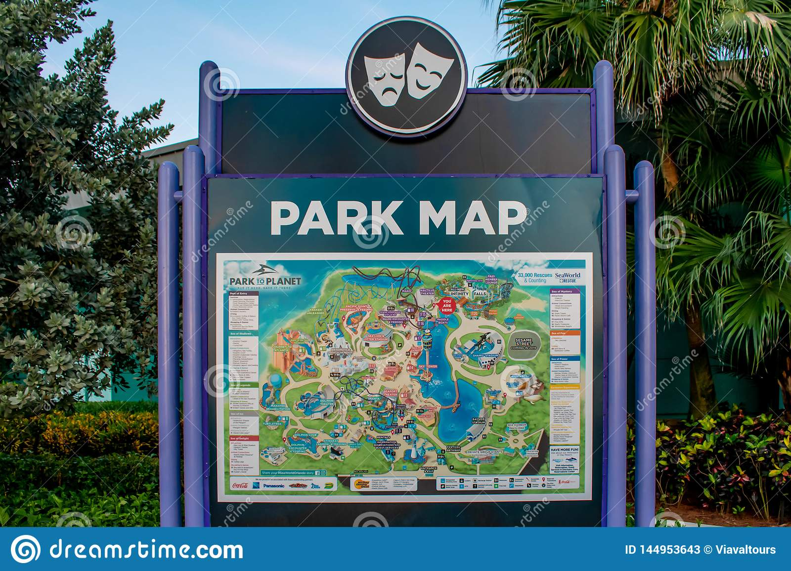 Park Map Sign At Seaworld In International Drive Area ...