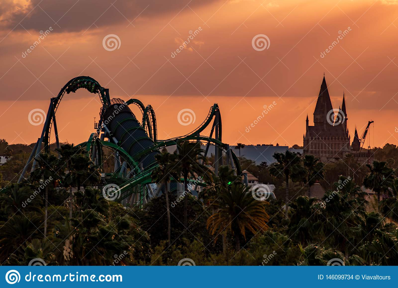 Top View Of Hogwarts Castle And The Incredible Hulk Rollercoaster