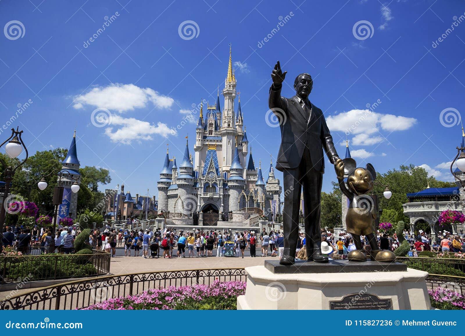 Disney World Castle and Mickey Mouse. Orlando, Florida.