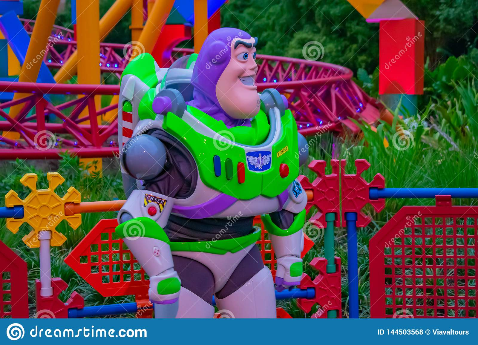 Buzz Lightyear on colorful background in Hollywood Studios at Walt Disney World area  1