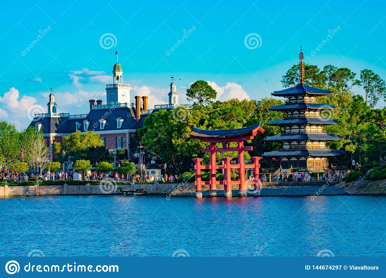 Panoramic View Of Japan Pavilion American Adventure Pavilion And Blue Lake At Epcot In Walt Disney World Editorial Photography Image Of Kingdom Children 144674297