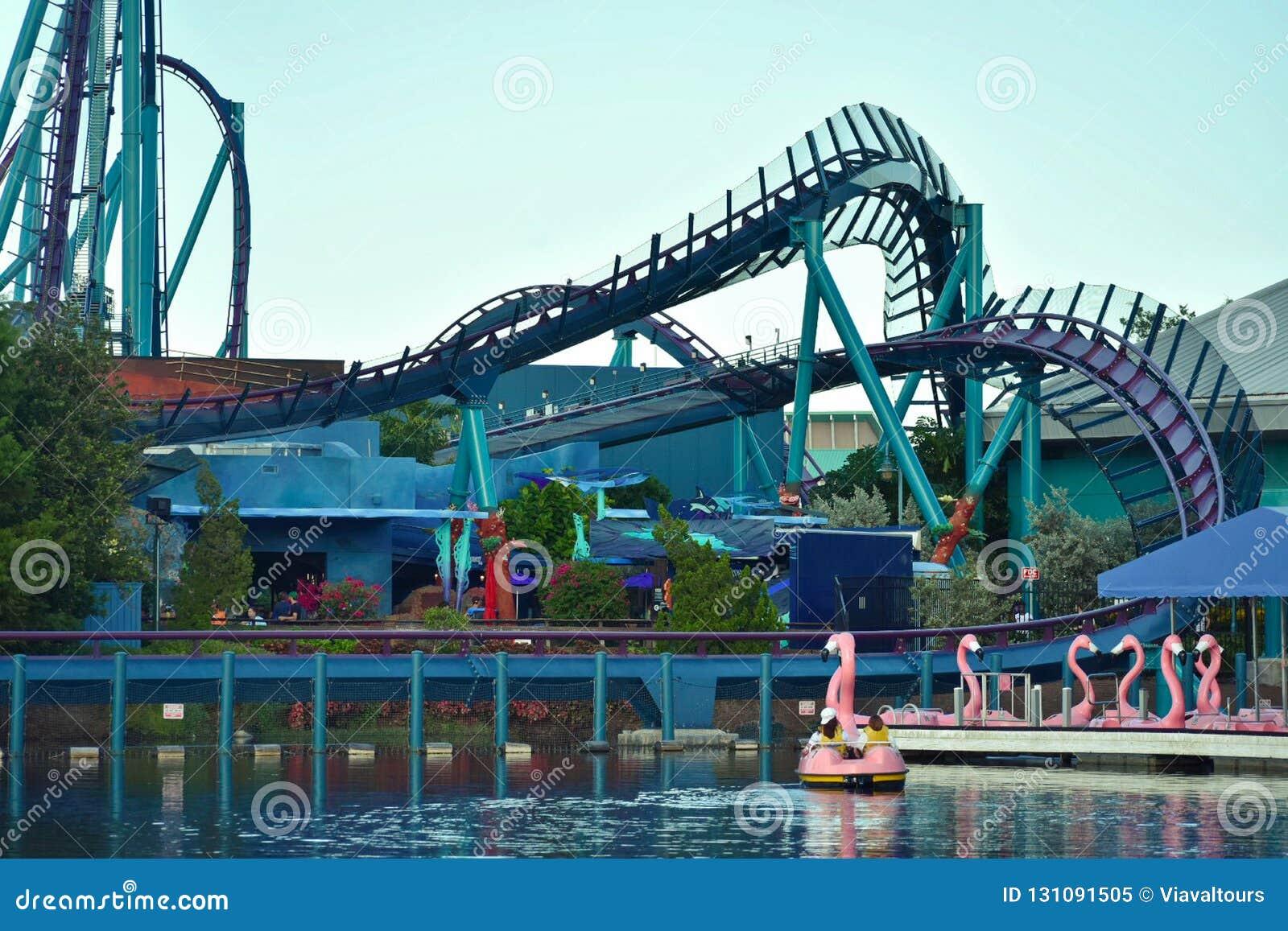 Paddle Flamingo Boat Dock With Mako Rollercoaster Background At Seaworld Theme Park Editorial Image Image Of Circle Coaster 131091505