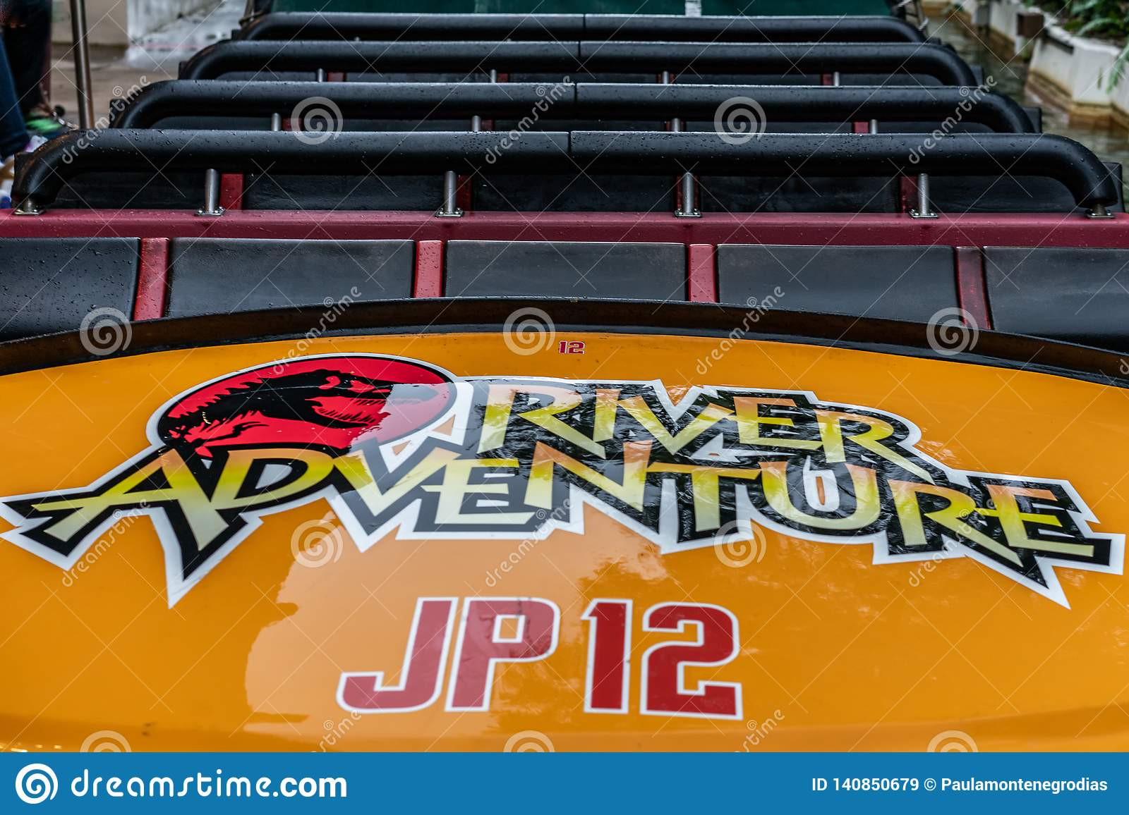 ORLANDO, FLORIDA, USA - DECEMBER, 2018: Jurassic Park River Adventure Ride, Universal Studios, Islands of Adventure
