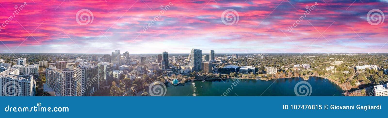 Orlando skyline at sunset, beautiful panoramic view of Florida