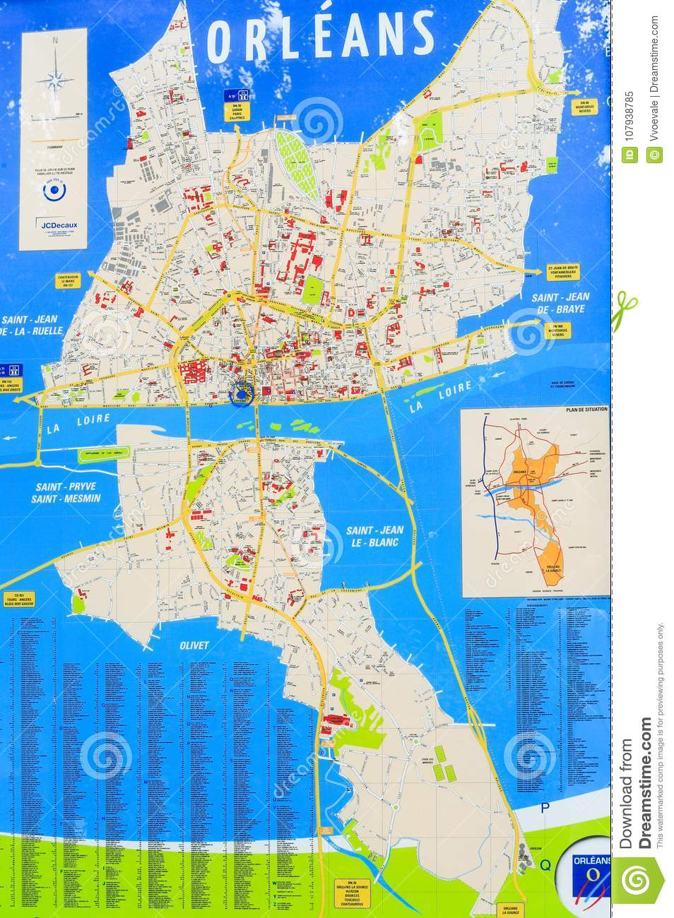 Orleans City Map On Outdoor Stand Editorial Image Image Of Trip - Orleans france map
