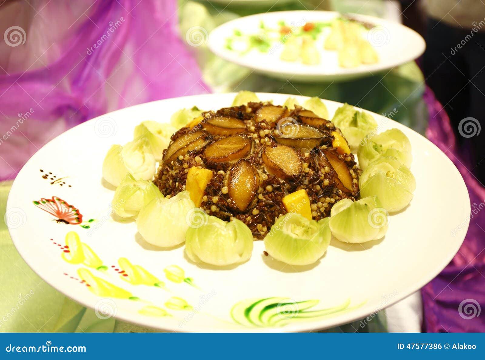Ormeaux cuits sur le riz de friture cuisine asiatique de for Cuisine asiatique