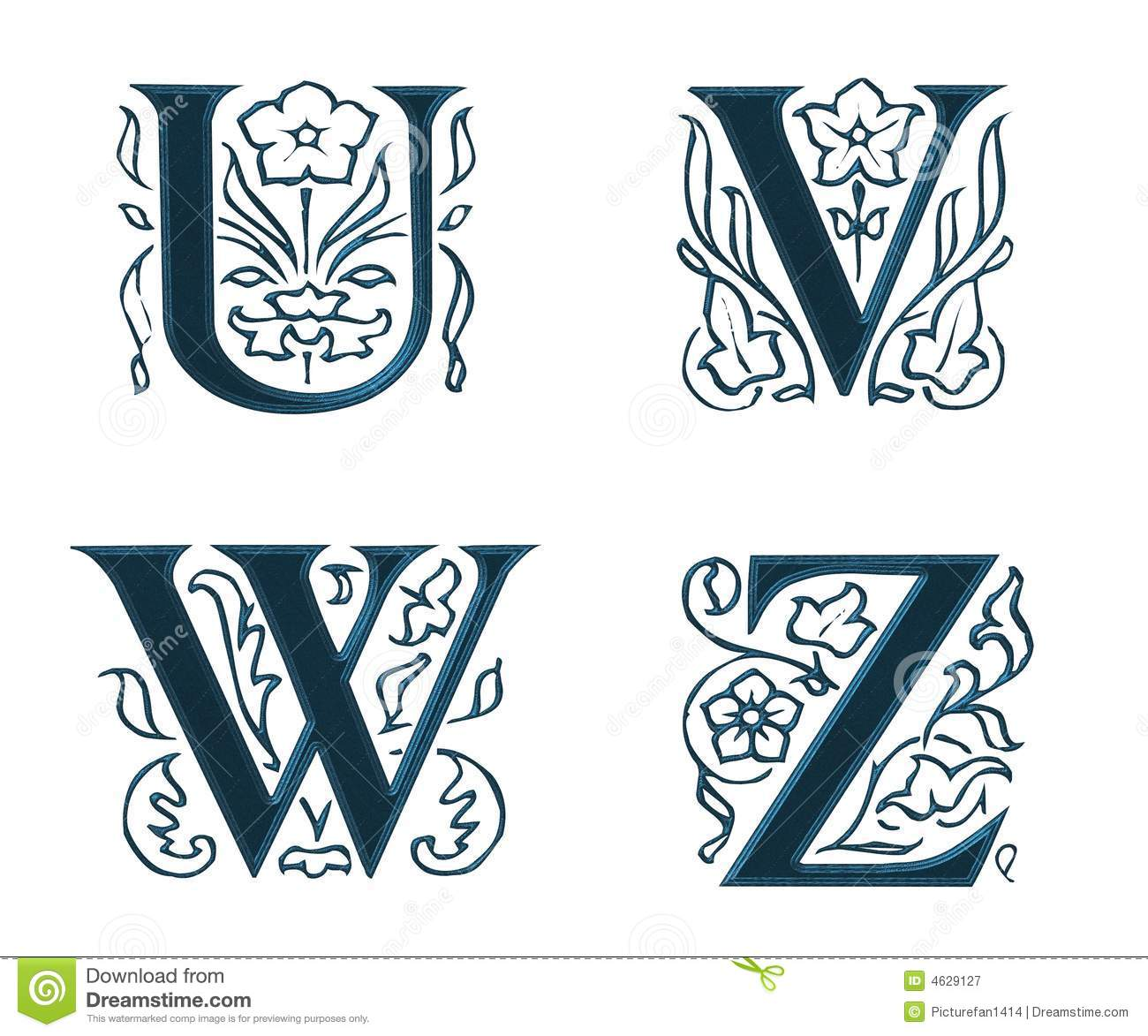 Ornam.Letters w.Leaves 6