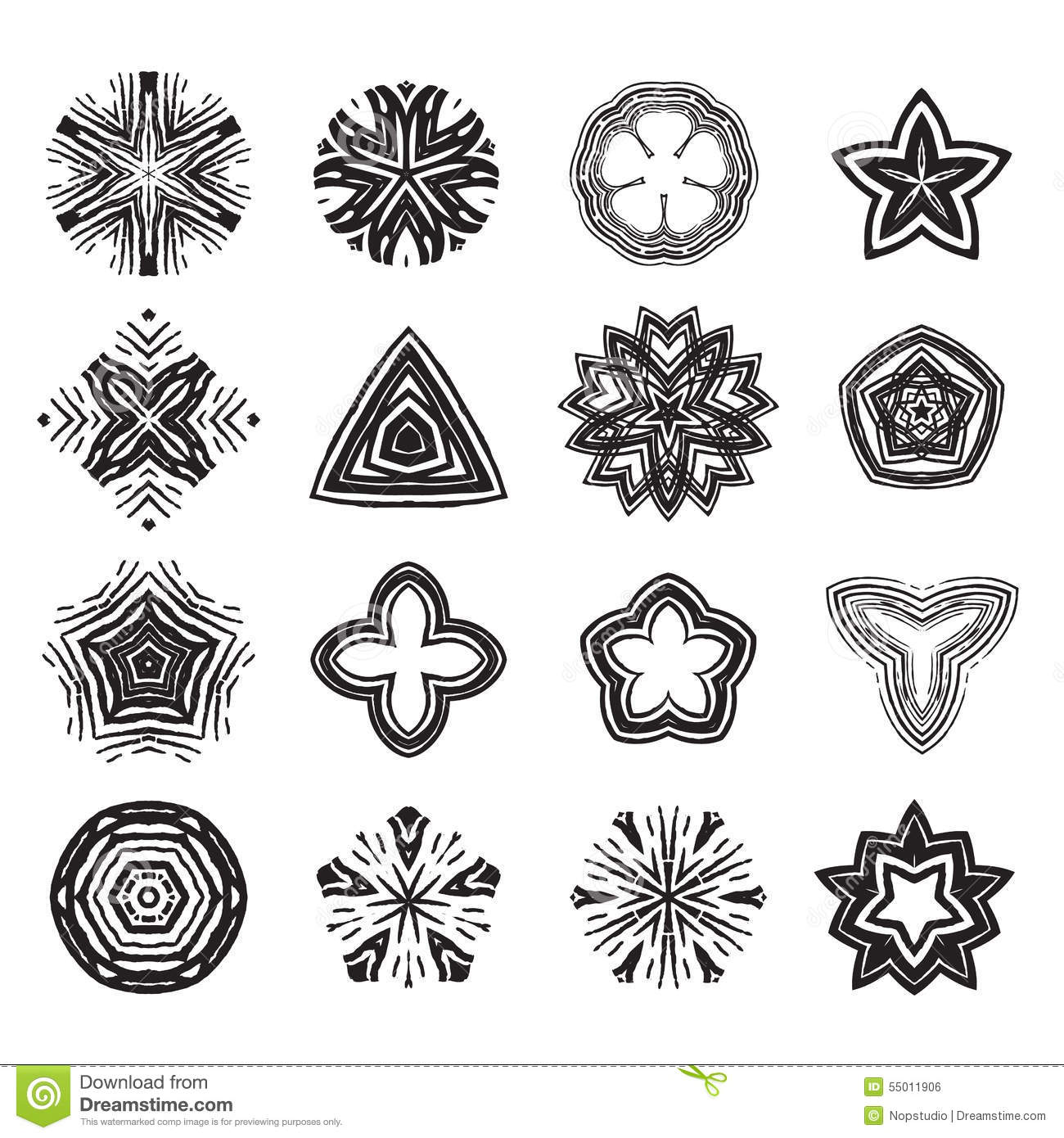 Ornament black and white line art design set stock vector image 55011906 - Design art black and white ...