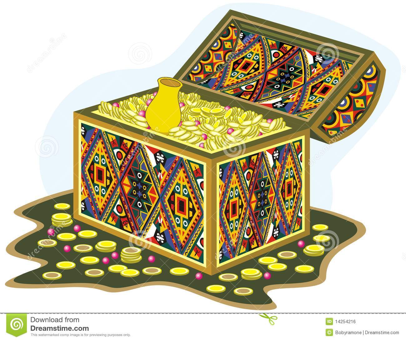 ornament chest with gold fortune and money royalty free Party Clip Art Person Clip Art