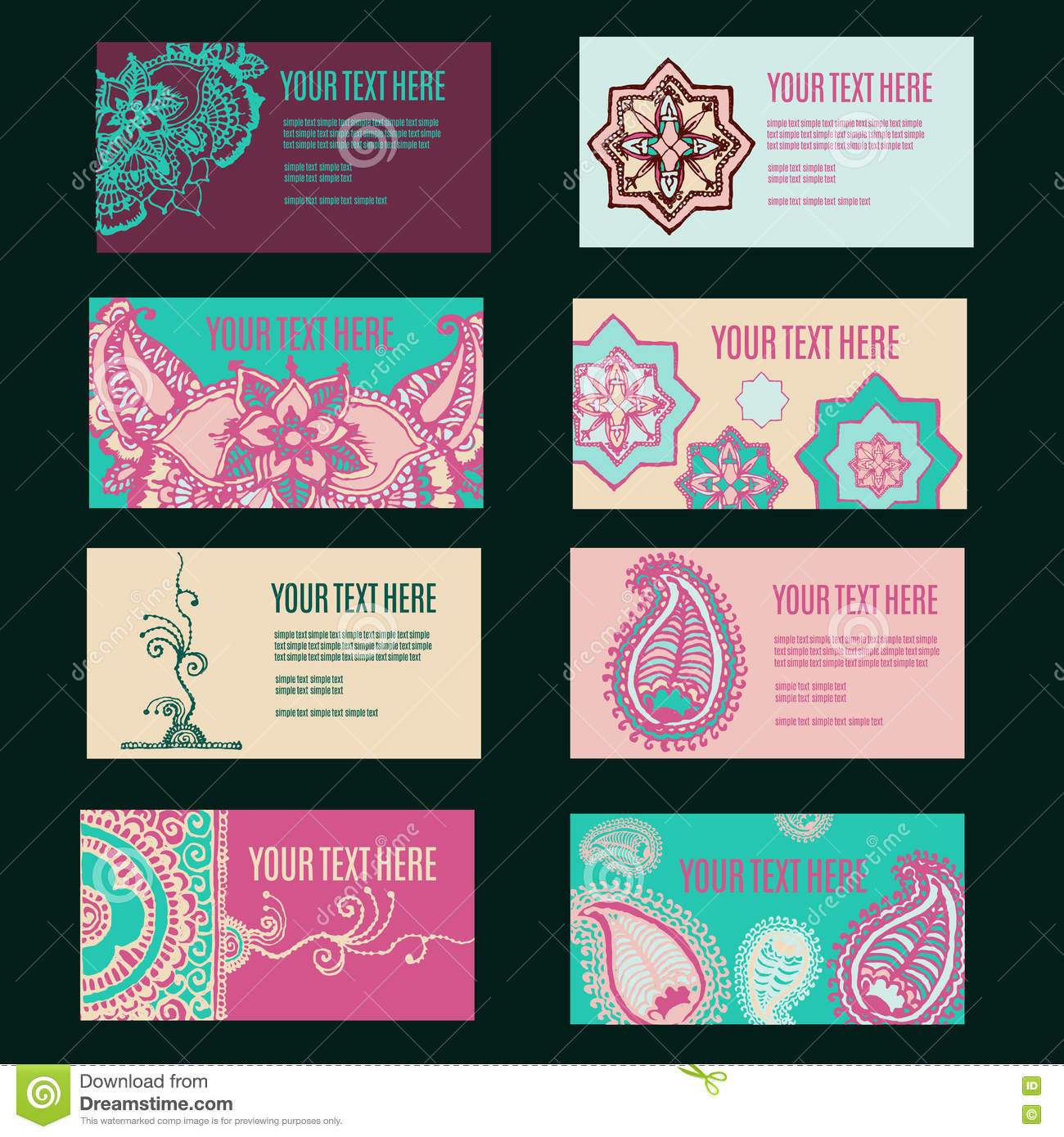 Ornament Design Business Card Collection With Floral Texture Stock ...