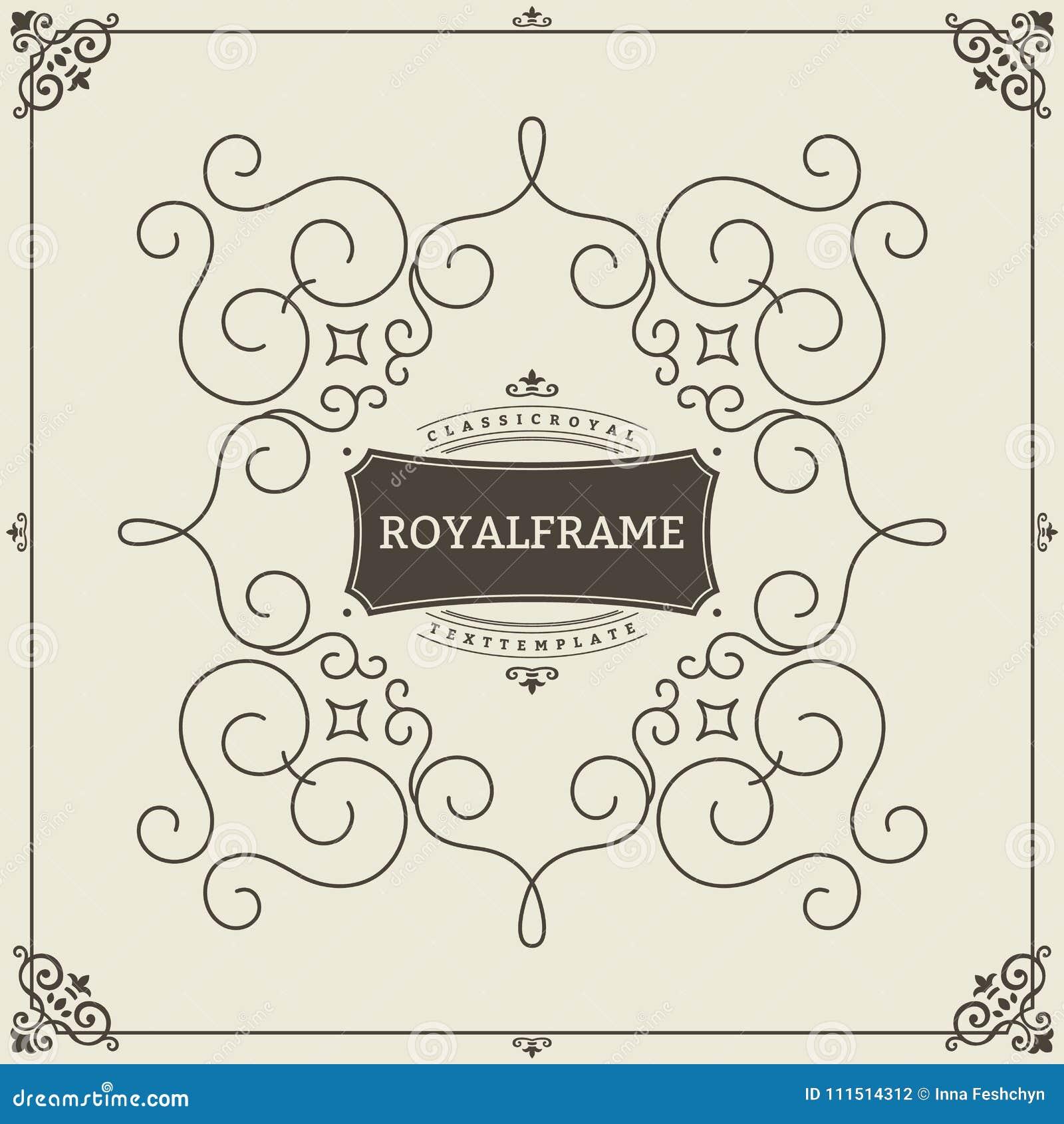 Ornament design invitation template. Vector flourishes calligraphic vintage frame. Good for Luxury, boutique brand