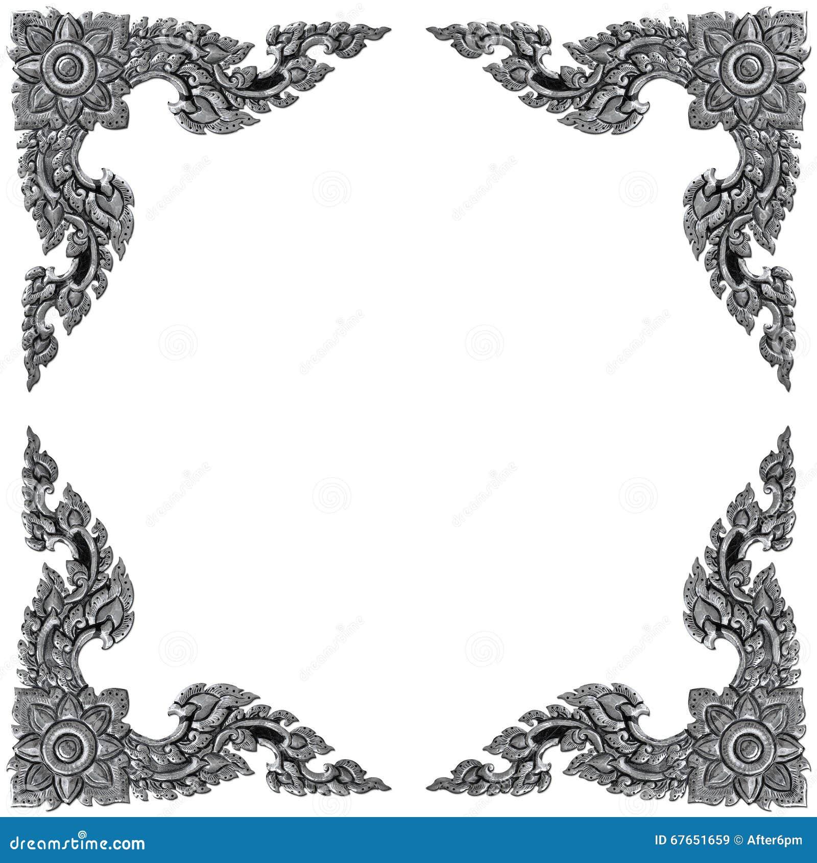 Ornament elements frame, vintage silver floral designs