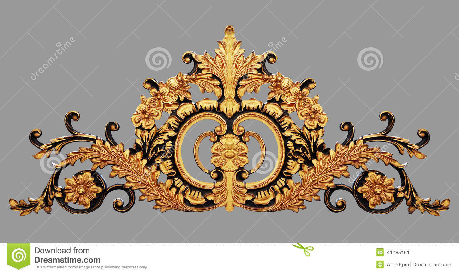 Ornament elements, vintage gold floral