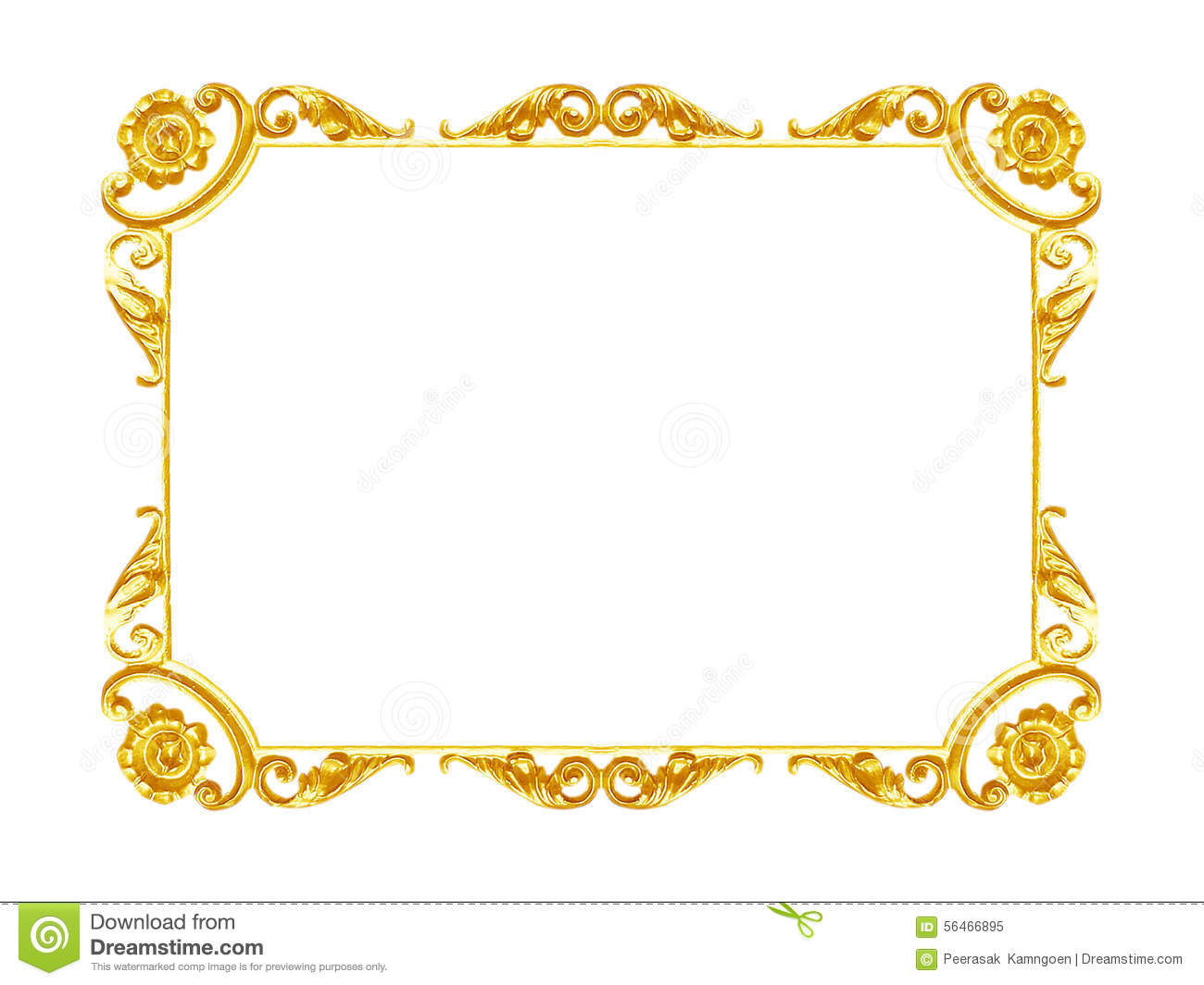 Ornament Elements Vintage Gold Frame Floral Designs Stock