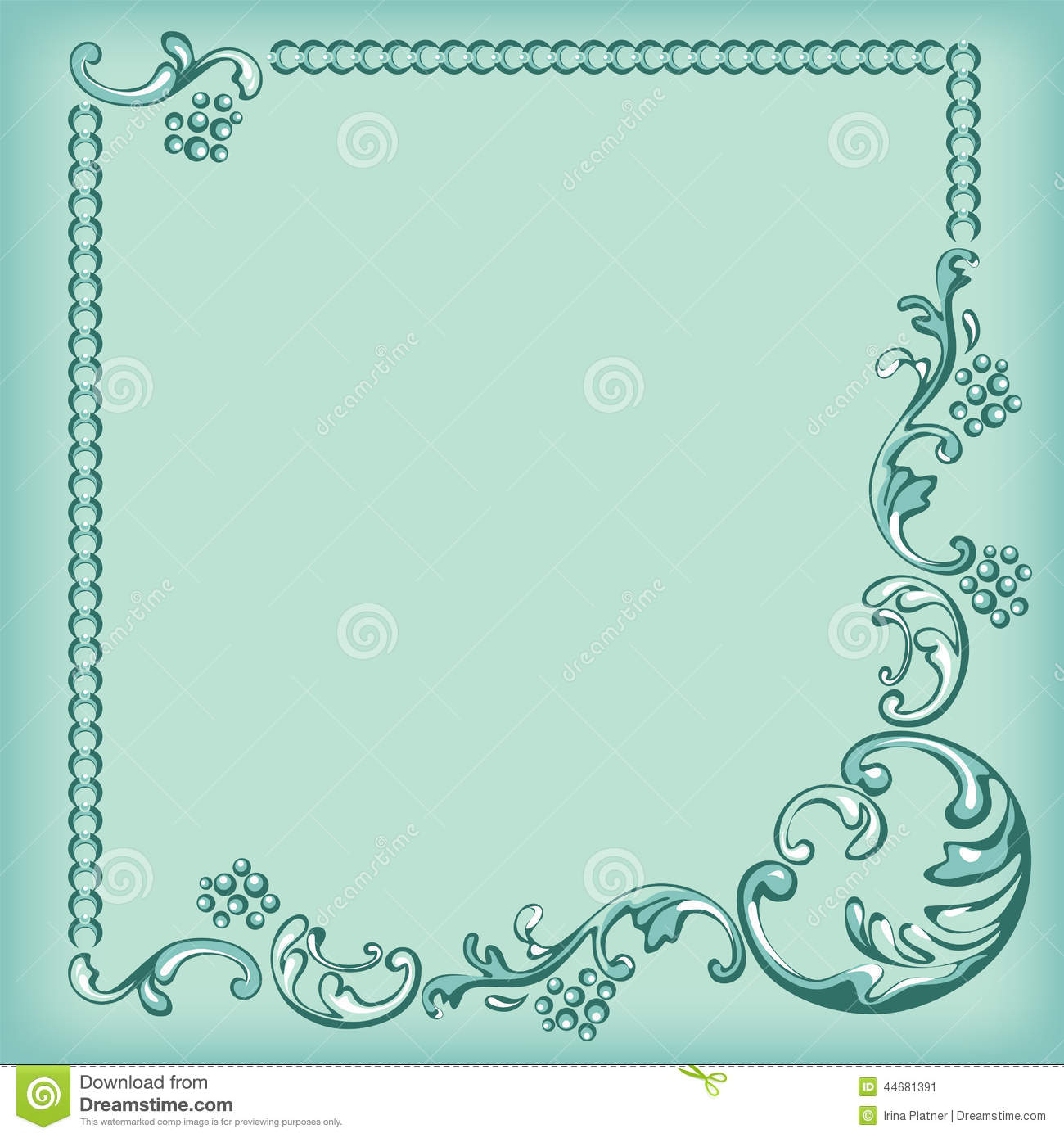 ornament frame decorative pattern on turquoise background