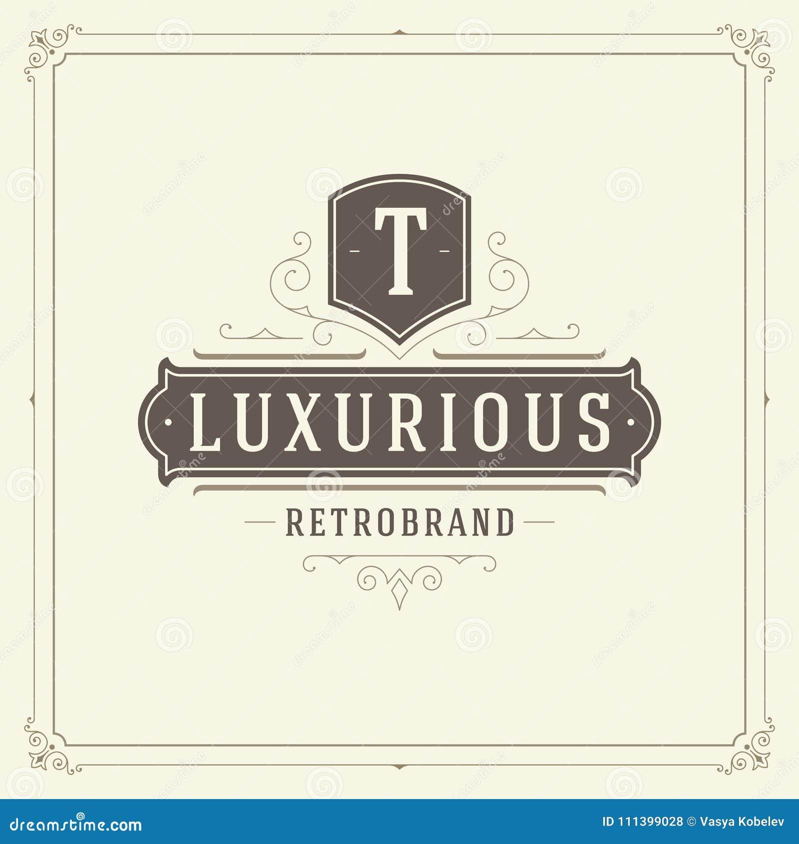 Ornament logo design template vector flourishes calligraphic vintage frame